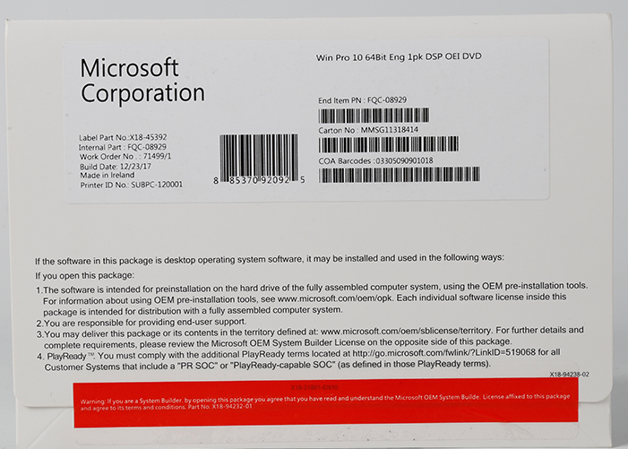 win 10 pro OEM package FQC-08929 made in ireland